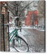 Copenhagen In The Winter.a Lonely Bike Canvas Print