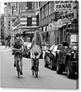 Copenhagen Lovers On Bicycles Bw Canvas Print