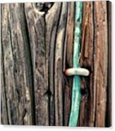 Copper Ground Wire And Knothole On Utility Pole Canvas Print