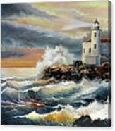 Coquille River Lighthouse At Hightide Canvas Print