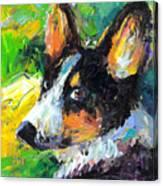 Corgi Dog Portrait Canvas Print