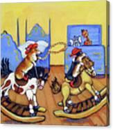 Pembroke Welsh Corgi Rainy Day Cowboys Canvas Print