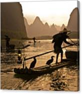 Cormorant Fishermen At Sunset Canvas Print