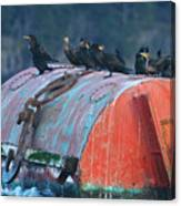 Cormorants On A Barrel Canvas Print