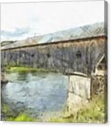 Cornish Windsor Covered Bridge Pencil Canvas Print