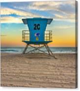 Coronado Beach Lifeguard Tower At Sunset Canvas Print