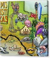 Corpus Christi Texas Cartoon Map Canvas Print