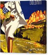 Cortina Dolomiti Italy Vintage Poster Restored Canvas Print