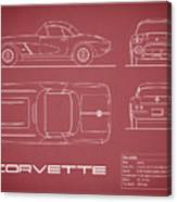 Corvette C1 Blueprint - Red Canvas Print