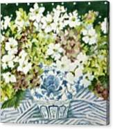 Cosmos And Hydrangeas In A Chinese Vase Canvas Print