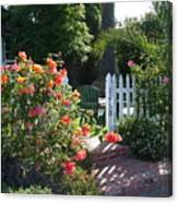 Cottage And Roses Canvas Print