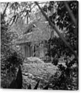 Cottage Black White Gardens Louisiana  Canvas Print