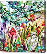 Cottage Garden Angel And Irises Canvas Print