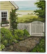 Cottage Garden Beach Getaway Canvas Print