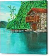 Cottage On Lake  Canvas Print