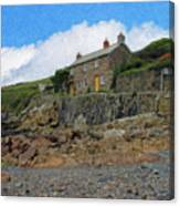 Cottage On Rocks At Port Quin - P4a16009 Canvas Print