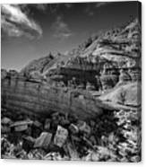 Cottonwood Creek Strange Rocks 3 Bw Canvas Print