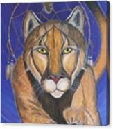 Cougar Medicine With Cobalt Blue Background Canvas Print