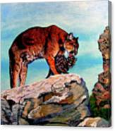 Cougars Mother And Cub Canvas Print