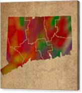 Counties Of Connecticut Colorful Vibrant Watercolor State Map On Old Canvas Canvas Print