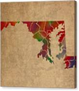 Counties Of Maryland Colorful Vibrant Watercolor State Map On Old Canvas Canvas Print