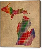 Counties Of Michigan Colorful Vibrant Watercolor State Map On Old Canvas Canvas Print