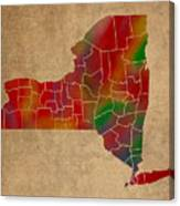Counties Of New York Colorful Vibrant Watercolor State Map On Old Canvas Canvas Print