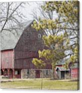 Country Barn With Pine Tree Canvas Print