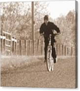 Country Boy And His Bike Canvas Print