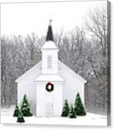 Country Christmas Church Canvas Print
