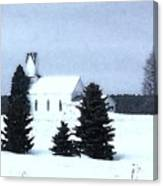 Country Church In Winter Canvas Print