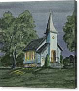Country Church On A Summer Night Canvas Print