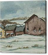 Country Farm In Winter Canvas Print