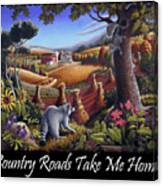Country Roads Take Me Home T Shirt - Coon Gap Holler - Appalachian Country Landscape 2 Canvas Print