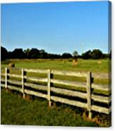 Country Scene With Field And Hay Bales Canvas Print