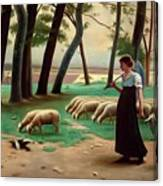 Country Shepherdess  Canvas Print