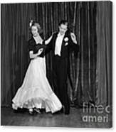 Couple Ballroom Dancing On Stage Canvas Print