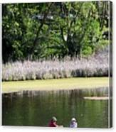 Couple In Row Boat Canvas Print