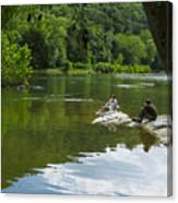 Couple Relaxing By The Shenandoah River At Harpers Ferry Canvas Print
