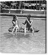 Couple Relaxing In Pool, C.1930-40s Canvas Print
