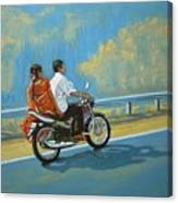 Couple Ride On Bike Canvas Print