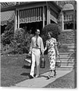 Couple Walking Out Of House, C.1930s Canvas Print