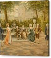 Couples On Veranda Of Chateau Canvas Print