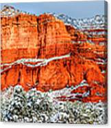 Courthouse Butte And Bell Rock Under Snow Canvas Print