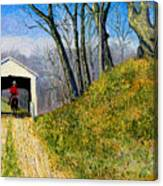 Covered Bridge And Cowboy Canvas Print