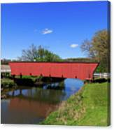 Covered Bridge And Reflection Canvas Print