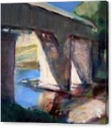 Covered Bridge At Low Water Canvas Print