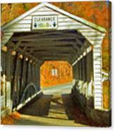 Covered Bridge Impasto Oil Canvas Print