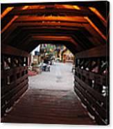 Covered Bridge In Vail Colorado Panorama Canvas Print