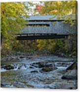 Covered Bridge Over Brown River Canvas Print